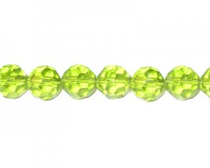 "12mm Apple Green Faceted Glass Bead, 13"" string"