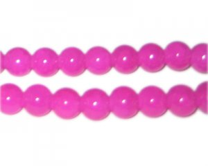 10mm Hot Pink Gemstone-Style Glass Beads, approx. 21 beads