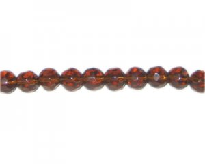 "8mm Brown Faceted Glass Bead, 13"" string"