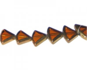 16 x 12mm Deep Gold Vintage-Style Diamond Glass Bead, approx. 7