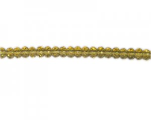 "6mm Gold Faceted Rondelle Glass Bead, 14"" string"