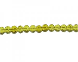 "8 x 6mm Olive Faceted Rondelle Glass Bead, 13"" string"
