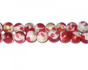 10mm Red GoldLeaf-Style Glass Bead, approx. 21 beads