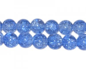 8mm Sky Blue Crackle Glass Bead, approx. 55 beads