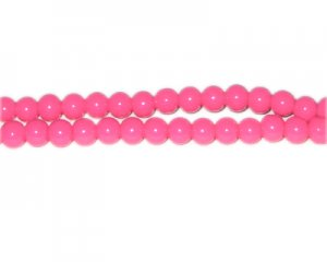 6mm Hot Pink Team and School Glass Bead, approx. 73 beads