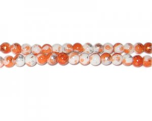 6mm Orange SilverLeaf-Style Glass Bead, approx. 72 beads