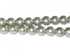 10mm Silver Green Glass Pearl Bead, approx. 22 beads
