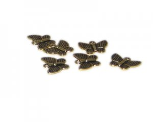 16 x 14mm Gold Butterfly Metal Charm, 6 charms