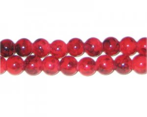 8mm Red Marble-Style Glass Bead, approx. 55 beads