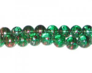 10mm Christmas Chill Abstract Glass Bead, approx. 22 beads