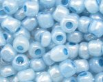 6/0 Soft Sky Blue Ceylon Glass Seed Bead, 1oz. bag