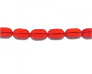 "16 x 10mm Strawberry Red Pressed Glass Bead, 13"" string"