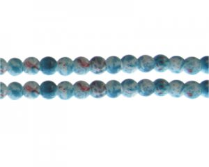 8mm Turquoise/Red Swirl Marble-Style Glass Bead, approx. 35 bead