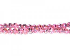6mm Pink Perfect Abstract Glass Bead, approx. 50 beads