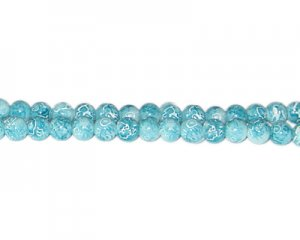 6mm Baby Blue Swirl Marble-Style Glass Bead, approx. 73 beads