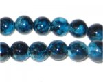 10mm Teal Marble-Style Glass Bead, approx. 21 beads