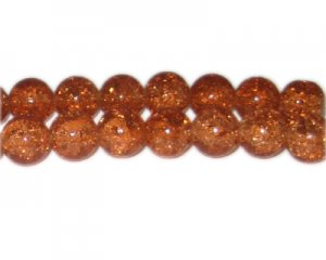 12mm Golden Brown Crackle Glass Bead, approx. 18 beads