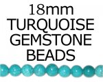 18mm Turquoise Gemstone Bead, 8 beads