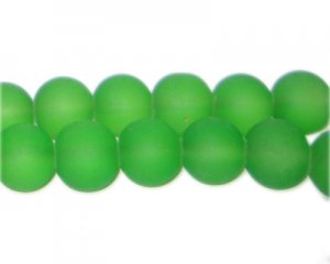 12mm Grass Green Sea/Beach-Style Glass Bead, approx. 18 beads