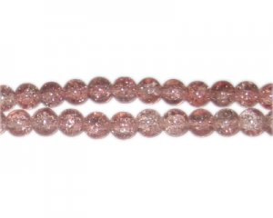 8mm Dusty Pink Crackle Glass Bead, approx. 55 beads