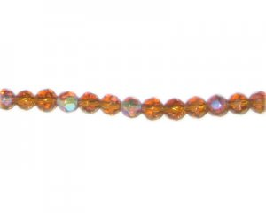 "6mm Deep Gold Faceted Glass Round AB Finish Bead, 12"" string"