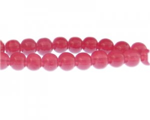 10mm Rosy Red Jade-Style Glass Bead, approx. 21 beads