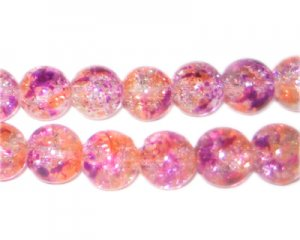 10mm Violet Flame Crackle Season Glass Bead, approx. 21 beads