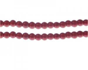 6mm Blood Red Glass Pearl Bead, approx. 76 beads