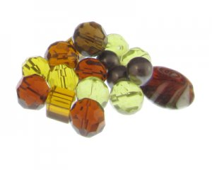 Approx. 1.5 - 2oz. Brown Twirl Glass Bead Mix