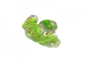 20mm Apple Green Floral Lampwork Heart Glass Bead, 4 beads
