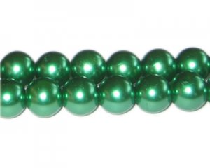 12mm Grass Green Glass Pearl Bead, approx. 18 beads