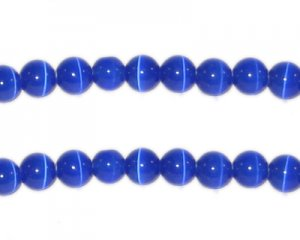 6mm Navy Round Cat's Eye Beads - approx. 25 beads