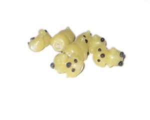 16 x 10mm Yellow Puppy Lampwork Glass Bead, 6 beads