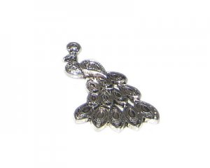 40 x 26mm Silver Peacock Metal Pendant