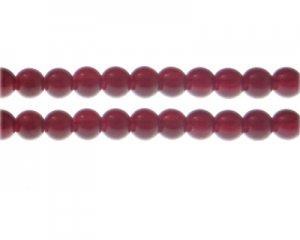 8mm Blood Red Jade-Style Glass Bead, approx. 55 beads