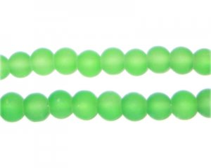 6mm Grass Green Sea/Beach-Style Glass Bead, approx. 71 beads