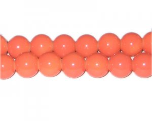 12mm Deep Orange Team and School Glass Bead, approx. 18 beads