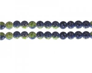 8mm Apple Green/Dark Blue Spot Marble-Style Glass Bead, approx.