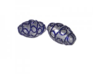 26 x 16mm Blue Swirl Lampwork Oval Bead, 2 beads