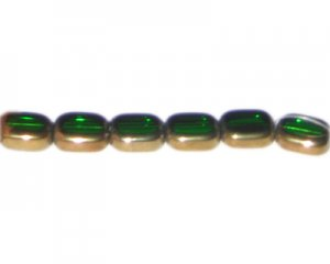 12 x 10mm Green Vintage-Style Glass Bead, approx. 7 beads