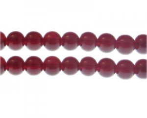 10mm Blood Red Jade-Style Glass Bead, approx. 20 beads