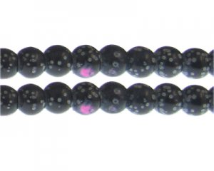 12mm Black/Pink Spot Marble-Style Glass Bead, approx. 14 beads