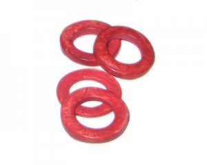 20mm Red Dyed Coconut Circle, 15 circles