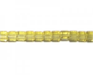 "6mm Gold Pressed Glass Cube Bead, 14"" string"