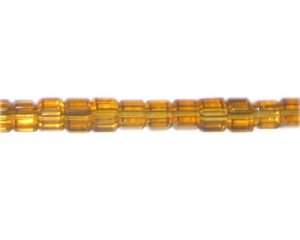 "6mm Gold Faceted Cube Glass Bead, 13"" string"