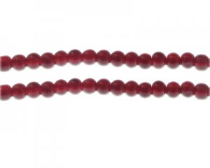 6mm Blood Red Jade-Style Glass Bead, approx. 76 beads