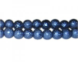 10mm Indigo Rustic Glass Pearl Bead, approx. 23 beads
