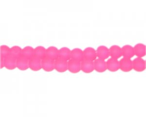 6mm Hot Pink Sea/Beach-Style Glass Bead, approx. 71 beads