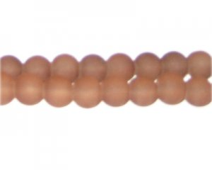 10mm Brown Sea/Beach-Style Glass Bead, approx. 22 beads