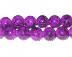12mm Purple Marble-Style Glass Bead, approx. 18 beads